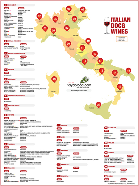 Italian Wine Region DOCG Map
