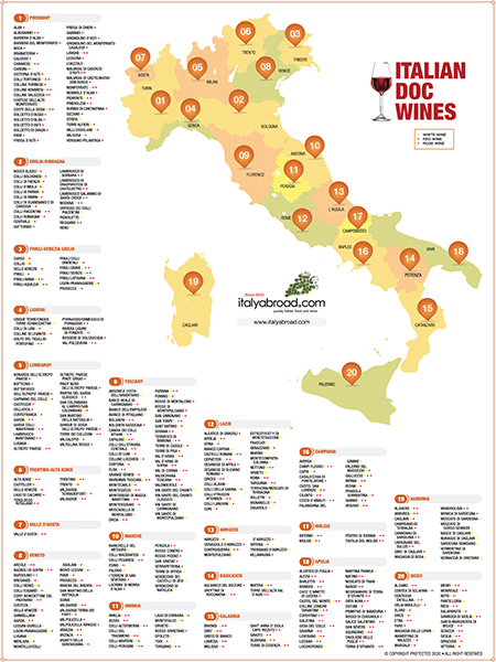 Italian Wine Region DOC Map