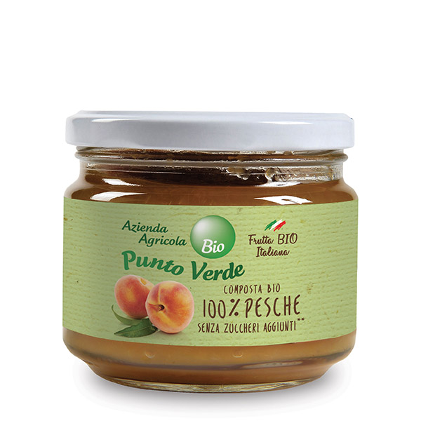 Organic 100% Peach Jam (No Sugar Added), Punto Verde