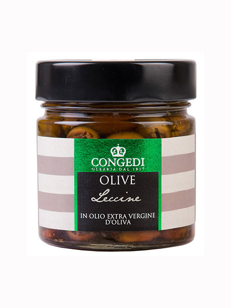 "Pitted Green Olives ""Leccine"" in brine, Olearia Congedi"