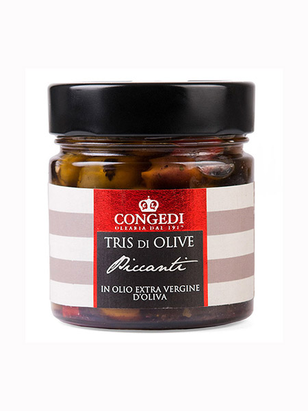 Pitted Spicy Mixed Olives in EVO, Olearia Congedi